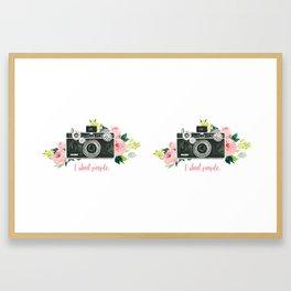I shoot people floral analog camera watercolor Framed Art Print
