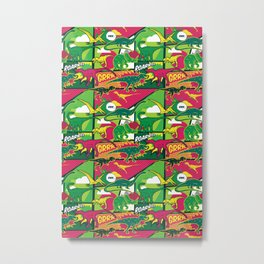 Dinosaurs comic pop art style seamless vector pattern Metal Print