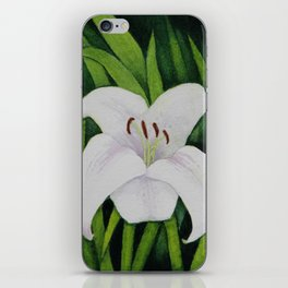 White Lily Watercolour iPhone Skin