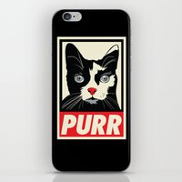 propaganda iPhone & iPod Skins featuring PURR Propaganda by Rachel Caldwell