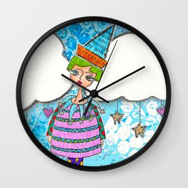 Funky Mixed Media Girl with Mushrooms, Clouds and Doodles in Dyan Reaveley Style with Bright Colors Wall Clock