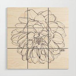 Ink Illustration of a Dahlia Wood Wall Art