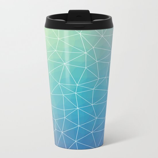 Abstract Blue Geometric Triangulated Design Metal Travel Mug