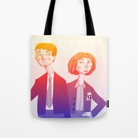 mulder Tote Bags featuring mulder n scully by clairen0vak