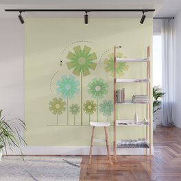 Blooming Flowers and Honey Bees Wall Mural