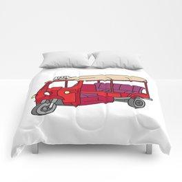 Red tuktuk / autorickshaw Comforters