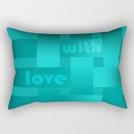 A satin ribbon .Turquoise background . With love. Rectangular Pillow