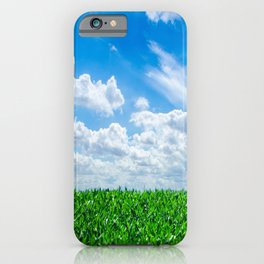 Green grass and blue sky iPhone Case