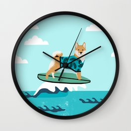 shiba inu surfing dog breed pattern Wall Clock