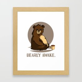 bear coffee caffeine late riser tired joke design Framed Art Print