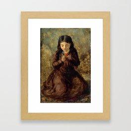 "John Everett Millais ""Florence 'Pobby' Thomas, kneeling and holding a posy of flowers"" Framed Art Print"