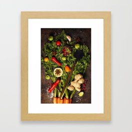 fresh carrots bunch, herbs and spices on dark rustic background Framed Art Print