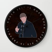 dean winchester Wall Clocks featuring Supernatural - Dean Winchester by MacGuffin Designs