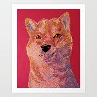 shiba inu Art Prints featuring Shiba Inu by eriatlov j
