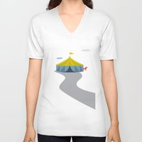 circus V-neck T-shirts featuring Circus by Judy Kaufmann