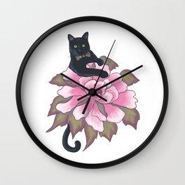 Black Cat on Flower Wall Clock