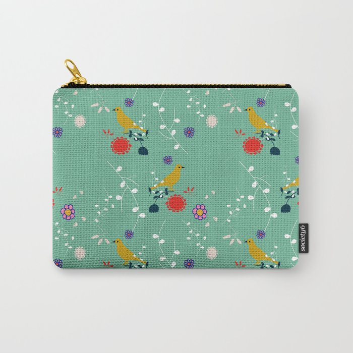 Bird and blossom green Carry-All Pouch