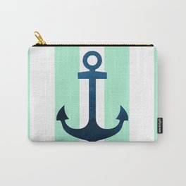 Anchor on Mint Stripes Carry-All Pouch
