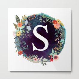 Personalized Monogram Initial Letter S Floral Wreath Artwork Metal Print