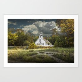 Old Mission Point Lighthouse in Early Autumn Art Print