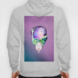 Whimsical Moonscape Girl - Purple Palette Moonscape Watercolor Hoody