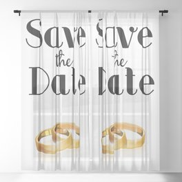 Save the Date Gold rings Sheer Curtain