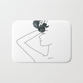 Minimal Line Art Woman with Flowers Bath Mat