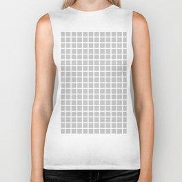 Grid (White & Gray Pattern) Biker Tank