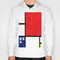 mondrian Hoodies featuring Mondrian TARDIS by Sama B