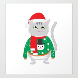 The isolated cute cat wearing a silly winter sweater with a snowman and New Year's cap Art Print