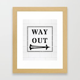 Way Out Sign, Subway Tiles, Right Arrow. Humour, Comedy. Framed Art Print