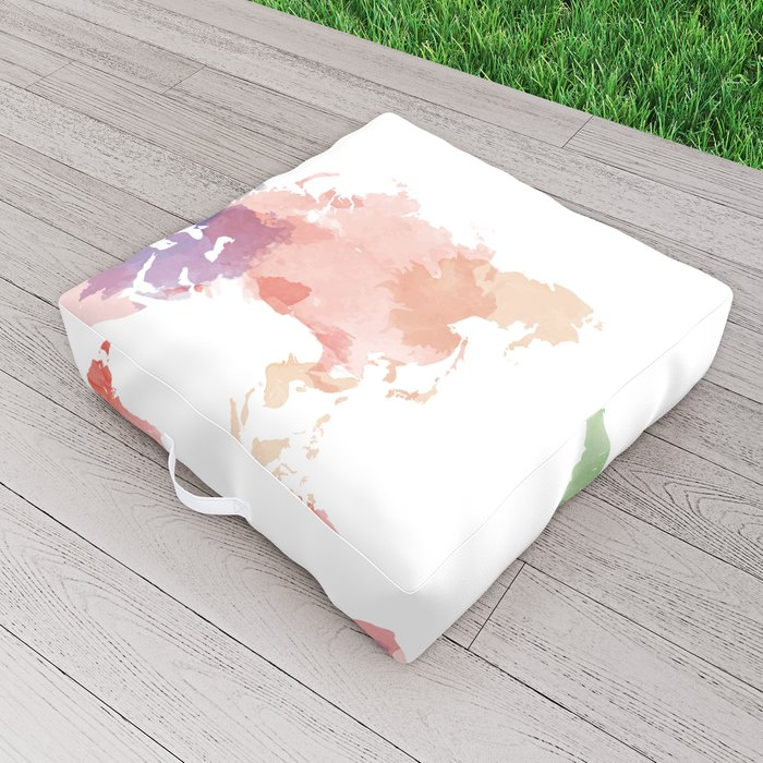 colorful world map Outdoor Floor Cushion
