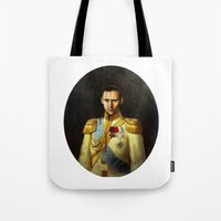 tom hiddleston Tote Bags featuring Tom Hiddleston 001 by TheTreasure