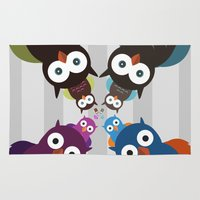 it crowd Area & Throw Rugs featuring Owl Crowd by Adamzworld