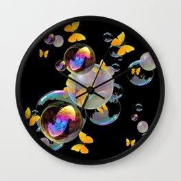 SURREAL GOLDEN YELLOW BUTTERFLIES  & SOAP BUBBLES Wall Clock