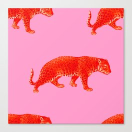 Vintage Cheetahs in Coral + Red Canvas Print