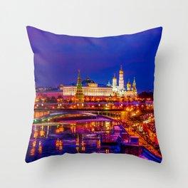 Panoramic View Of Moscow Kremlin Throw Pillow