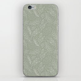 Pastel green white hand painted leaves polka dots pattern iPhone Skin