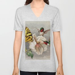 Ruby-throated Hummingbirds & Butterfly Portrait Unisex V-Neck