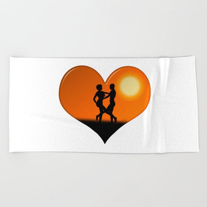 Sunset Dancing Couple Love Heart Beach Towel