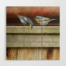 Two Warblers on The Fence Wood Wall Art