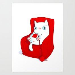 Kitty Loves Knitting Art Print