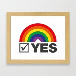 Vote Yes! - Rainbow Tick Framed Art Print