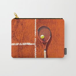 Tennis racket with ball on tennis court Carry-All Pouch