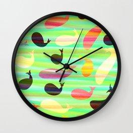 Pencil whales Wall Clock