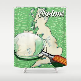Ireland vintage Style travel poster Shower Curtain