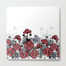 Red flowers on a white background . Metal Print