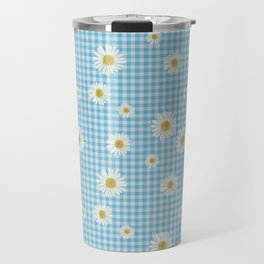 Daisies On Blue Gingham Travel Mug