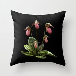 Pink Lady's slipper clump Throw Pillow