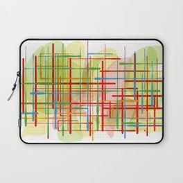 Abstract Lines Shapes Green and Yellow Laptop Sleeve
